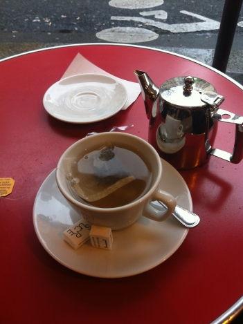 An English tea (not my choice!) at Les Editeurs cafe on a rainy, people watching kinda day